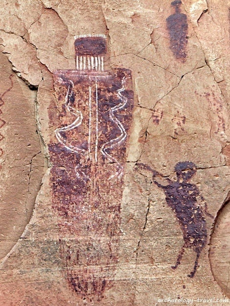 One of the large Barrier Canyon style figures painted in Horseshoe Canyon, Canyonlands National Park Utah.