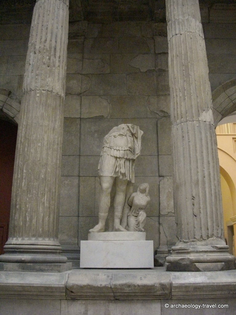 A sculpture of a general that is thought to be tat of Emperor Trajan or Hadrian