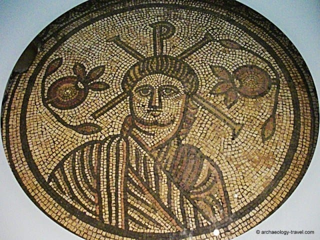 The central roundel of a 4th century AD mosaic depicting Christ from a Roman villa in Dorset.