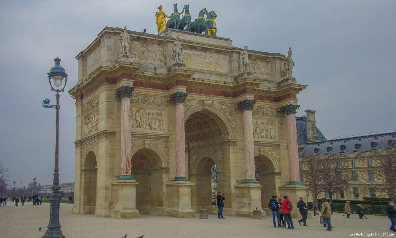 Looking through the Arc de Triomphe du Carrousel, once the gateway to the Tuileries Palace.