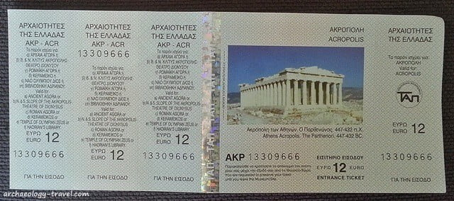 The multi-ticket for the Acropolis and other Ancient sites in Athens.